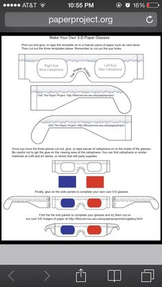 Make your own 3D glasses like the 10th Doctor's for your Doctor Who Party http://paperproject.org/PDF_files/3dglasses.pdf