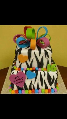 Zebra stripes with multi color ribbon as topper.... NEW OBSESSION????......NAAAA LOL