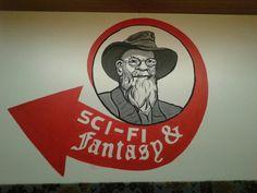 Terry Pratchett sign for Sci - Fi and fantasy corner.