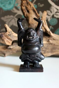 Vintage Home Decor / Carved Dark Wood, Buddha, Hotai, Laughing Buddha on Etsy, $13.61 CAD