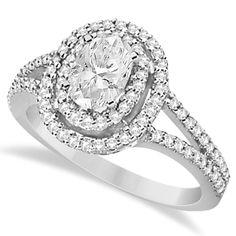 Double Halo Diamond & Moissanite Engagement Ring 14K White Gold 1.34ct - Allurez.com