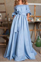 Sweet Slash Collar 3/4 Sleeve Pocket Design Women's Maxi Dress