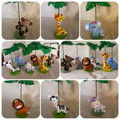Animais do safari para enfeitar a mesa do aniversário