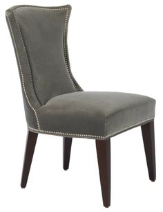 Sienna Side Chair by Lillian August - L25 x W27 x H38 (shown in Willis Grey Gr J fabric, Black Walnut finish).  Base Price:  $648.00