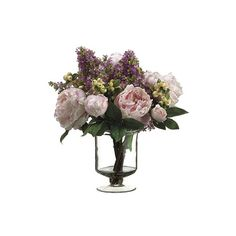 Peony, Lilac and Berry Bouquet in Glass Vase (350 CNY) ❤ liked on Polyvore featuring home, home decor, glass home decor, outdoor home decor and outside home decor