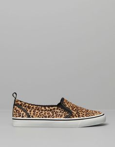 :LEOPARD PRINT LEATHER PLIMSOLLS