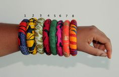 African Fabric Covered Chunky Ethnic Bangles by AZVKA on Etsy, $6.50