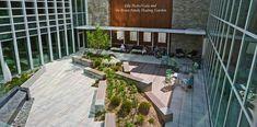 HOK landscape architects designed the University of Missouri Health Care University Hospital Healing Garden Courtyard.