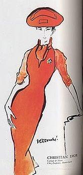1953 - Christian Dior tangerinedress by rene bouche dans vogue paris september 1953