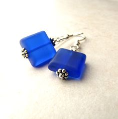 Blue Sea Glass Earrings Seaglass Earrings by BellinaCreations, $25.00