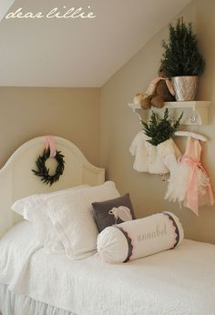 Little girls room with a bit of greenery added to decorate for Christmas.  SO cute!