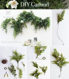 DIY Garland made with faux greenery and silk flowers from afloral.com. Perfect for a wedding backdrop or table garland