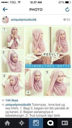 Glam Hijab Tutorial in 5 Steps Simple Hijab Tutorial, Hijab Style Tutorial, Scarf Tutorial, Cara Hijab, Hijab Chic, Muslim Women Fashion, Islamic Fashion, How To Wear Hijab, Hijab Wear