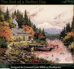 The End of a Perfect Day, Thomas Kinkade Cross Stitch or Needlepoint Chart, Candamar Designs