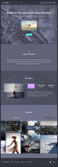 TouchUp Web Design by Ben Dunn, via Behance