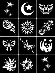 Temporary tattoo stencils SET 04