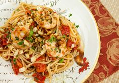 Italian Food Forever » Spaghetti With Shrimp, Tomatoes & Garlicky Toasted Breadcrumbs