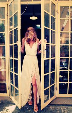 Vneck slit Beach Lace Chiffon Wedding DressBridal by lucksell, $289.00
