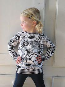 Herkent iemand dit? Bij het zien van een stofje denken; hebbe, hebbe, hebbe....Kopen...en toen een dikke punt. Met andere woorden, hij blij... Sewing For Kids, Baby Sewing, Cute Outfits For Kids, Cute Kids, Kids Tops, Fashion Kids, Diy Clothes, Sewing Patterns, Sweaters