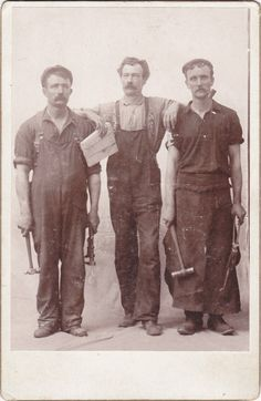 Vintage cabinet card photo of industrial workers.