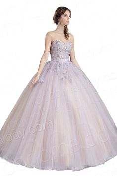 Pretty Ball Gown Sweetheart Floor Length Organza Light Purple Zipper Quinceanera Dress with Beading and Appliques COZF14080