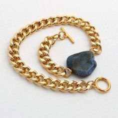 Gold Chain & Blue Agate Gemstone Wrap Around by elinspired on Etsy, $28.00