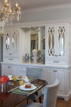 Beautiful Dining Room With Built In Sideboard Accented