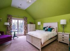 Transitional Guest Bedroom with Ceiling fan, Cathedral ceiling, Wall sconce, Carpet, flush light Bedroom Colour Schemes Green, Green Bedroom Paint, Green Bedroom Decor, Green Painted Walls, Bedroom Wall Colors, Green Bedrooms, Bedroom Ideas, Bed Ideas, Master Bedrooms