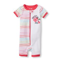Baby And Toddler Girls Short Sleeve 'Mommy's Little Lady' Stripe Split Print Cropped Stretchie