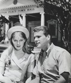 Mia Farrow and Ryan O'Neal in Peyton Place.
