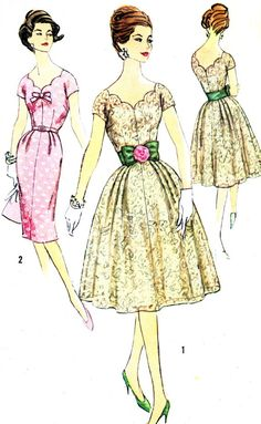 1950s Dress Pattern Simplicity 3045 Scalloped Bodice Evening Dress Full or Sheath Skirt Womens Vintage Sewing Pattern Bust 36 Uncut