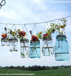 Hook Top Flower Hangers 6 DIY Mason Jar Lids, Weddings Hanging Flower Frog Lids, No Jars. $24.00, via Etsy.
