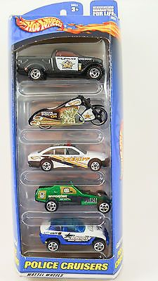 1:64 Hot Wheels 2000 Gift Pack Police Cruisers 5 Pack w/Scorcin Scooter #50024