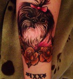 Portrait dog tattoo of my beloved Lola. #tattoo  #memorial #dogtattoo #memorialdogtatttoo #shihtzu #shihtzutattoo