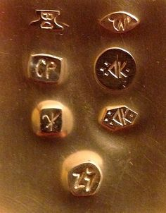 Impressions from the hallmarks made in Bill Dawson's toolmaking workshop Metal Jewelry, Metal Art, Portland, Workshop, Bronze, Gemstones, Amazing, Creative