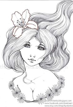 Nature Lady 07   Original Pen Drawing  Manga Anime by bydianita, $15.00