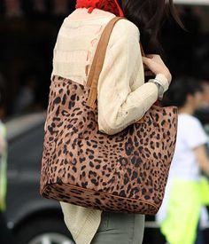 Set: Leopard Print Open-Top Tote + Shoulder Bag