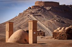 Towers of Silence, Yazd. Must feel ominous and smell horrid