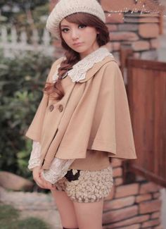 Detachable doll collar double breasted cute Babydoll jacket coat