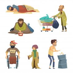 Unhappy dirty poor and desperate peoples. Cartoon Characters, Vector Characters, Fictional Characters, Stick Figure Drawing, People Cutout, Family Illustration, Vector Photo, Stop Motion, Drawing People