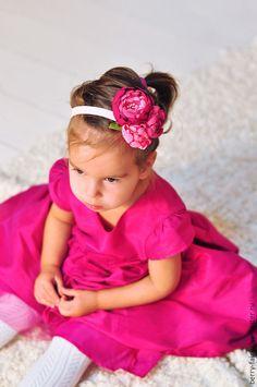 Купить Повязка для волос Розовые цветы - розовый, повязка на голову, повязка для волос, повязка для девочки