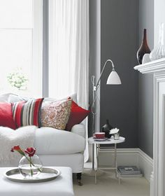 Not fond of the white upholstered furniture but love the living room colors in contemporary dark grey and off-white with red accents Living Room Red, Home And Living, Living Room Decor, Dining Room, Modern Living, Little Greene Farbe, Decoration Gris, Modernisme, Grey Room