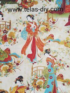 Tela de patchwork americano Geishas