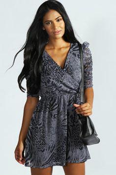 Charlotte Animal Print Wrap Dress at boohoo.com