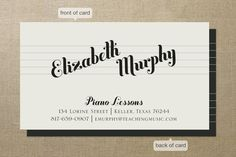 Piano Lessons Business Cards by Ann Gardner | Minted