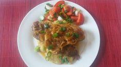Hagymás mustáros szelet Spaghetti, Beef, Chicken, Ethnic Recipes, Food, Meat, Essen, Meals, Yemek