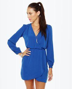That's a Wrap Blue Long Sleeve Dress