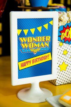 Printed Wonder Woman sign from a Wonder Woman Superhero Birthday Party on Kara's Party Ideas   KarasPartyIdeas.com (34)
