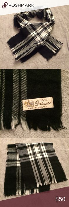 "100% Cashmere Scarf Made in England - 100% cashmere - Classic black & white plaid pattern - Fringe trim, long edges have an ""unfinished"" look - 12"" x 56"" - EUC. No stains or tears. Nordstrom Accessories Scarves & Wraps"