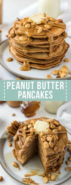 Maple Peanut Butter Pancakes are packed with creamy peanut butter and contain a hint of maple flavor! The entire family will love these easy and delicious peanut butter pancakes. peanut butter chocolate for peanut butter lovers peanut butter Peanut Butter Pancakes, Peanut Butter Breakfast, Chocolate Peanut Butter Fudge, Peanut Butter Sauce, Peanut Butter Granola, Peanut Butter Sandwich, Butter Chocolate Chip Cookies, Peanut Butter Desserts, Homemade Peanut Butter